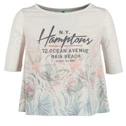 Textiel Dames T-shirts korte mouwen Benetton ESQUIQUO Wit / Multikleuren