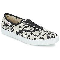 Schoenen Dames Lage sneakers Victoria INGLES GEOMETRICO LUREX Beige / Zwart