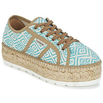 Schoenen Dames Lage sneakers Victoria BASKET ETNICO PLATAFORMA Blauw / Beige