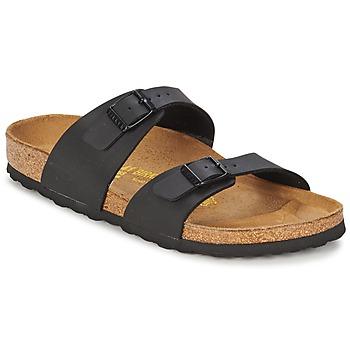 Schoenen Dames Leren slippers Birkenstock SYDNEY Zwart / Mat