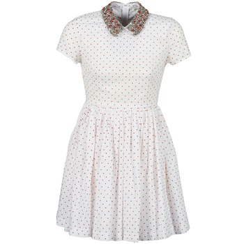 Textiel Dames Korte jurken Manoush PLUMETIS STRASS Wit / Rood