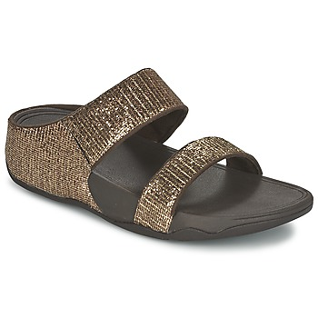 Schoenen Dames Leren slippers FitFlop LULU SUPERGLITZ SLIDE Brons
