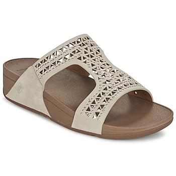 Schoenen Dames Leren slippers FitFlop CARMEL SLIDE Beige