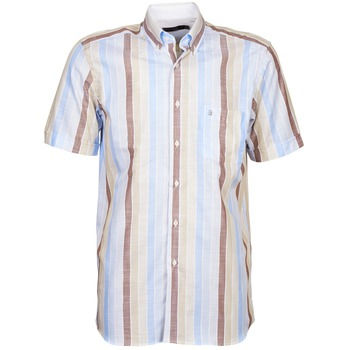 Textiel Heren Overhemden korte mouwen Pierre Cardin 539936240-130 Blauw / Beige / Brown