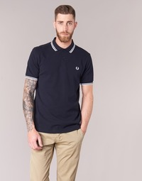 Textiel Heren Polo's korte mouwen Fred Perry SLIM FIT TWIN TIPPED Marine / Wit