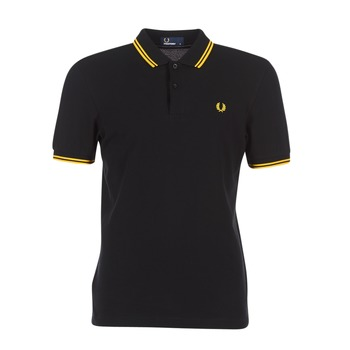 Textiel Heren Polo's korte mouwen Fred Perry SLIM FIT TWIN TIPPED Zwart / Geel