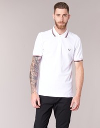 Textiel Heren Polo's korte mouwen Fred Perry SLIM FIT TWIN TIPPED Wit / Rood
