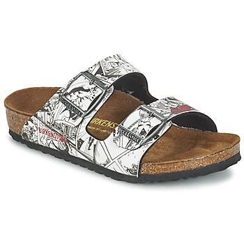 Schoenen Jongens Leren slippers Birkenstock ARIZONA Zwart / Wit