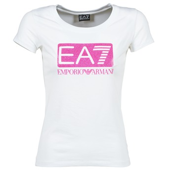 Textiel Dames T-shirts korte mouwen Emporio Armani EA7 BEAKON Wit