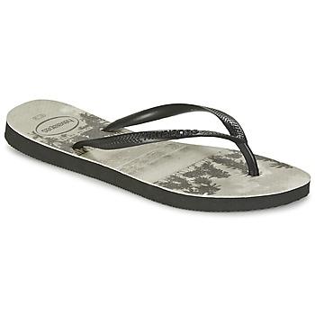 Schoenen Dames Slippers Havaianas SLIM PHOTOPRINT Zwart / Grijs