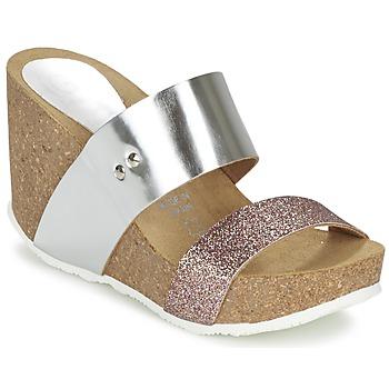 Schoenen Dames Leren slippers Ganadora FLORA Zilver