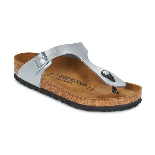 Schoenen Dames Slippers Birkenstock GIZEH Zilver