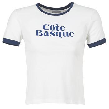 Textiel Dames T-shirts korte mouwen Loreak Mendian COTE BASQUE Ecru / Marine