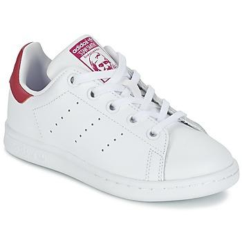 Schoenen Meisjes Lage sneakers adidas Originals STAN SMITH EL C Wit / Roze