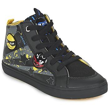 Schoenen Jongens Hoge sneakers Geox KIWI BOY Zwart / Geel