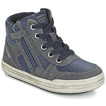 Schoenen Jongens Hoge sneakers Geox ELVIS Blauw / Grijs