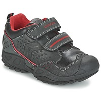 Schoenen Jongens Lage sneakers Geox NEW SAVAGE BOY Zwart / Rood
