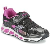 Schoenen Meisjes Lage sneakers Geox SHUTTLE GIRL Zwart / Roze