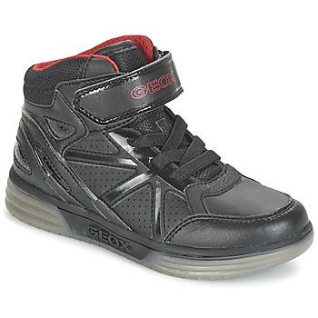 Schoenen Jongens Hoge sneakers Geox ARGONAT BOY Zwart / Rood