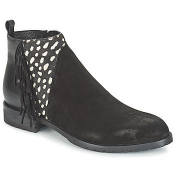 Schoenen Dames Laarzen Meline VELOURS NERO PLUME NERO Zwart / Wit