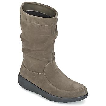 Schoenen Dames Laarzen FitFlop LOAF SLOUCHY KNEE BOOT SUEDE Taupe