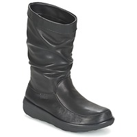 Schoenen Dames Laarzen FitFlop LOAF SLOUCHY KNEE BOOT LEATHER  zwart