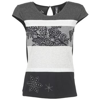 Textiel Dames T-shirts korte mouwen Desigual KITEPI Wit / Grijs / Zwart