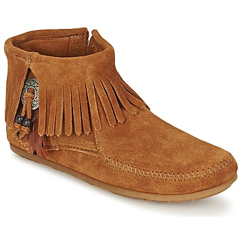 Schoenen Dames Laarzen Minnetonka CONCHO FEATHER SIDE ZIP BOOT Brown