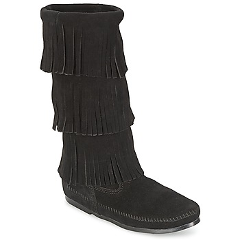 Schoenen Dames Hoge laarzen Minnetonka CALF HI 3 LAYER FRINGE BOOT Zwart