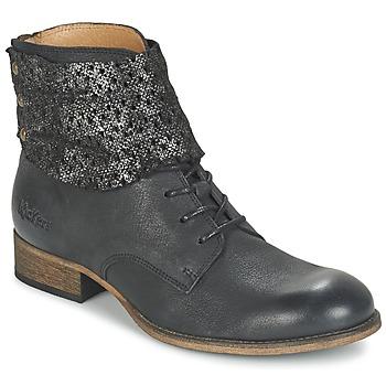 Schoenen Dames Laarzen Kickers PUNKYZIP Zwart / Brillant