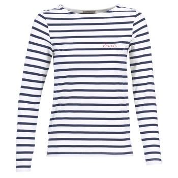Textiel Dames T-shirts met lange mouwen Betty London IFLIGEME Wit / Blauw