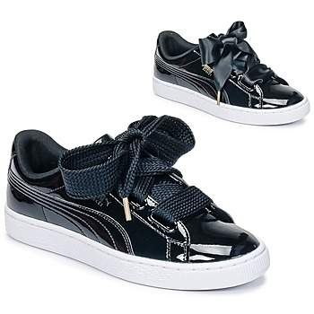 Schoenen Dames Lage sneakers Puma BASKET HEART PATENT WN'S Zwart / Verni