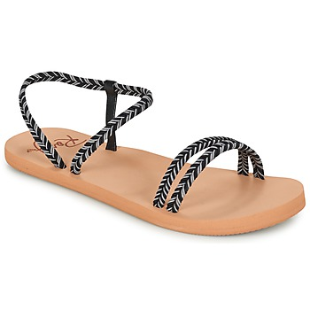 Schoenen Dames Slippers Roxy LUANA J SNDL BLK Zwart
