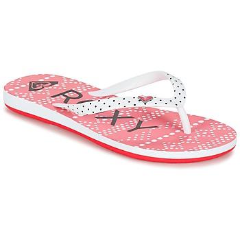 Schoenen Meisjes Slippers Roxy RG PEBBLES V G SNDL BRE Rood / Wit / Zwart