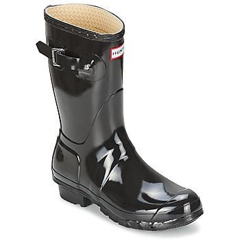 Schoenen Dames Regenlaarzen Hunter WOMEN'S ORIGINAL SHORT GLOSS Zwart