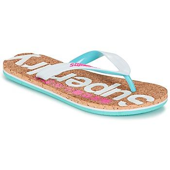 Schoenen Dames Slippers Superdry CORK COLOUR POP FLIP FLOP Wit / Roze / Blauw