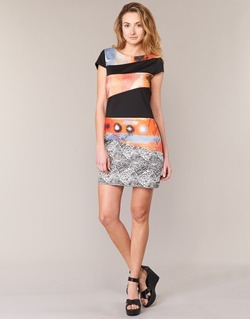 Textiel Dames Korte jurken Smash SERPENS Zwart / Orange / Grijs