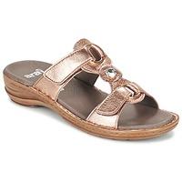 Schoenen Dames Leren slippers Ara AGLIMELLE Goud / Roze