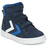 Schoenen Kinderen Hoge sneakers Hummel STADIL CANVAS HIGH JR Blauw / Wit