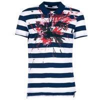 Textiel Heren Polo's korte mouwen Desigual RELIRA Wit / Marine / Rood