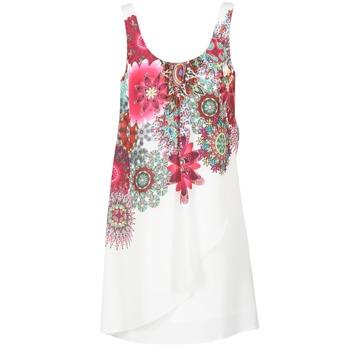 Textiel Dames Korte jurken Desigual LIORASA Wit / Rood / Roze