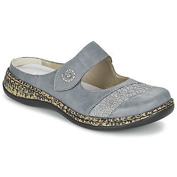 Schoenen Dames Leren slippers Rieker GRILOPI Blauw / Grijs