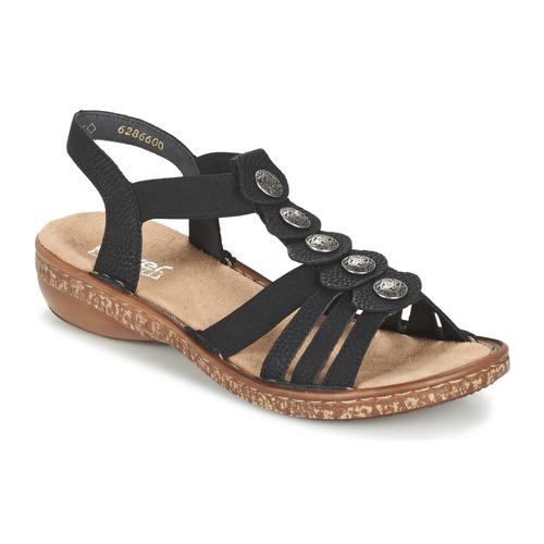 Schoenen Dames Sandalen / Open schoenen Rieker MECHAROLO Zwart