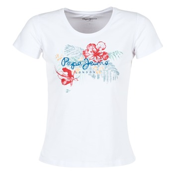 Textiel Dames T-shirts korte mouwen Pepe jeans AMBER Wit