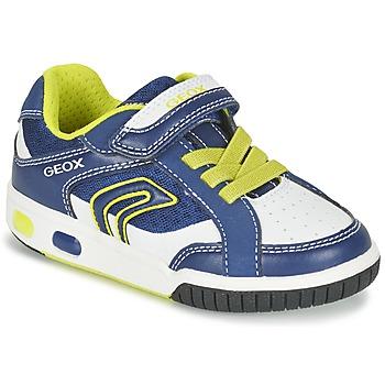 Schoenen Jongens Lage sneakers Geox J GREGG A Blauw / Citroen