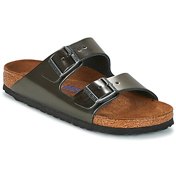 Schoenen Dames Leren slippers Birkenstock ARIZONA Antraciet