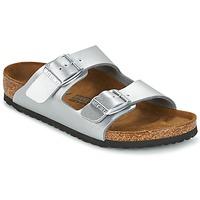 Schoenen Kinderen Leren slippers Birkenstock ARIZONA Zilver