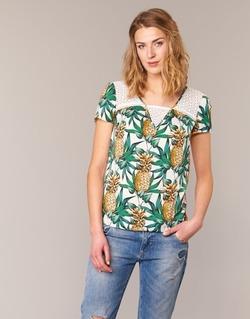 Textiel Dames Tops / Blousjes Naf Naf E-ANANAS Wit / Groen / Geel