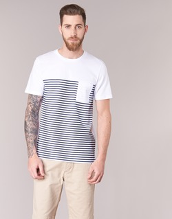 Textiel Heren T-shirts korte mouwen Jack & Jones APRIL CORE Wit / Marine