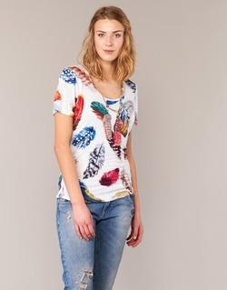 Textiel Dames T-shirts korte mouwen Derhy JACQUOT Wit / Multikleuren